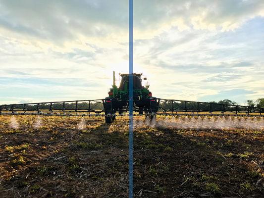 O WeedSeeker é capaz de aplicar defensivos agrícolas apenas onde estão as plantas invasoras, identificadas por meio de sensores.