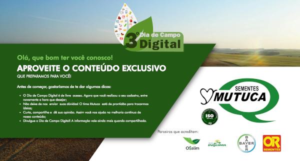 O 3º Dia de Campo Digital, que estará disponível para acesso ainda neste mês de Janeiro.